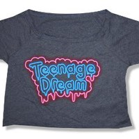 Katy Perry Teenage Dream Grey Crop Top T-Shirt New Juniors