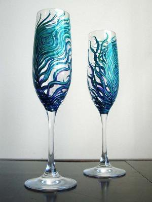 Peacock Wedding Toasting FlutesSet of 2 by marywibis on Etsy