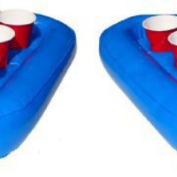 Pool Pong Rack Floating Beer Pong Set, Includes 2 Rafts and 3 Pong Balls