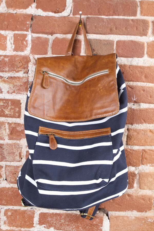 leather flap backpack navy stripe