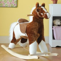 Charm Co. New Pinto Horse w/brown Saddle