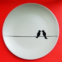 Birds love the wire Plate 8 Inch by studio35 on Etsy