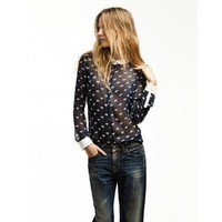 Horse Pattern Lapel Chiffon Shirt - Shirts - Apparel