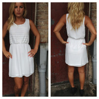White Chiffon Rib Texture Dress