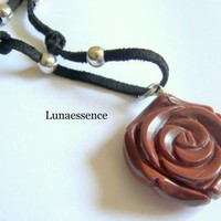 Gold Stone Blooming Rose Pendant