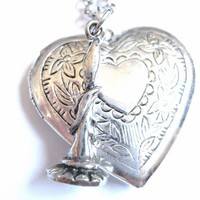 Heart Locket Necklace with Candle Charm for Remembering a Loved One