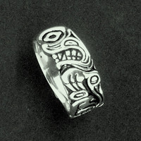 Wolf Ring Native American Style Sterling Silver with Sun and Moon
