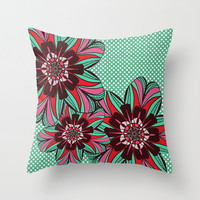 Polka Dot Garden Throw Pillow by Ally Coxon