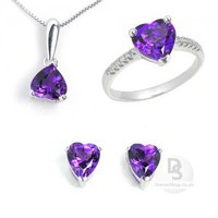 Heart Amethyst Noble Jewellery Set at Dresseshop