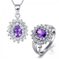 Round Amethyst Charming Jewellery Set at Dresseshop