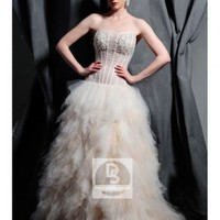 Ball Gown Strapless Crystal Beading Organza Chapel Train Wedding Dress at Dresseshop