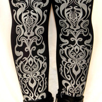 Art Nouveau Printed Tights Black Silver Small Medium Womens Fashion Print Pattern