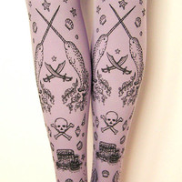 Pirate Printed Pastel Tights Black on Lavender Lilac Small Medium Sailor Tattoo Purple Women