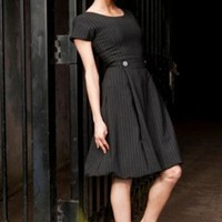 Boat Neck Pin Stripe Italian Wool Dress