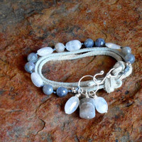 Leather triple wrap labradorite gemstone, rainbow moonstone gemstone bracelet with sterling silver accents
