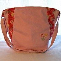 Pink Denim Tote Bag Recycled Jeans Purse Roses Crossbody