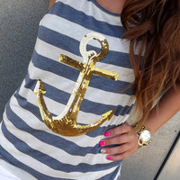 Gold Sequin Anchor Tank | The Rage