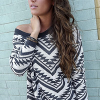 Cozy Aztec Sweater in Charcoal | The Rage