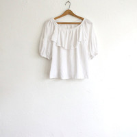 Vintage 70s White Cotton Peasant Blouse // Boho Spanish Style Summer Top