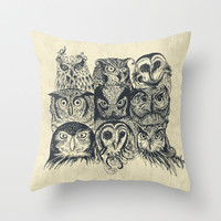 Nine Owls Throw Pillow by Rachel Caldwell