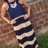 Navy & Peach Stripes Maxi | The Rage