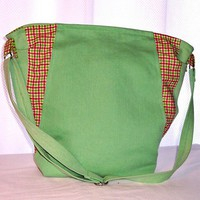 Tote Bag Green Denim Recycled Jeans Hot Pink Plaid Crossbody Purse
