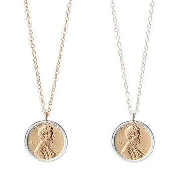 PENNY NECKLACE WITH PERSONALIZED YEAR | Penny, Necklace, Gifts for Women, Gifts for Teens, Unique, Coin, Coin Collector, Currency, Americana, Sterling Silver | UncommonGoods