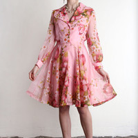 Vintage Party Dress . Pink Floral Summer Frock . 1960s