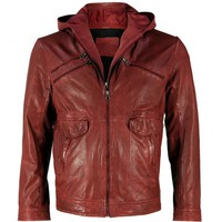 VIPARO | Red Detachable-Cotton Hood Soft Lambskin Leather Jacket - Jordan