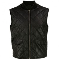 VIPARO | Black Suede Sleeveless Leather Camping Gilet Vest - Tyson