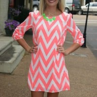 In the Light of Day Chevron Dress - Neon CoralPurchase