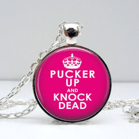 Pucker Up Knock Dead Necklace Glass Picture Pendant by Lizabettas
