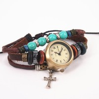 Vintage Style Watch with Turquoise Beads and Cross Pendant FHTD35
