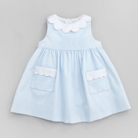 Florence Eiseman Plain Scalloped Pincord Dress, Light Blue, 12-24 Months