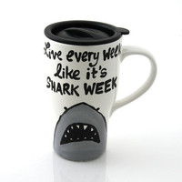 Shark ceramic travel mug