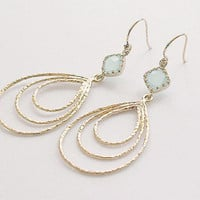 Gold Teardrop Earrings Seafoam Blue Dangle Earrings by FiveThirty