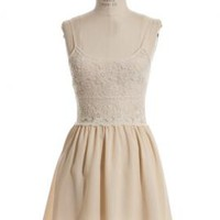 The Grand Plié Spaghetti Strap Crochet Lace Skater Dress in Cream   | Sincerely Sweet Boutique