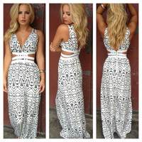 Black & White Stripe Strapless Maxi Dress