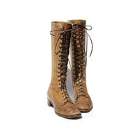 size: 8 Toffee Cream Tan Leather Lace up Boots