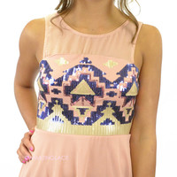 Candy Diamond Pink Sequin Embroidered Dress