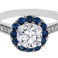 Engagement Ring - Round Diamond and Sapphire Halo Engagement Ring 0.50 tcw. - ES790