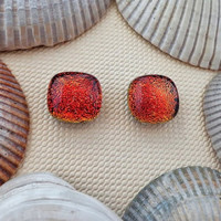 Red Dichroic Stud Earrings, Fused Glass, Dichroic Glass Post Earrings, Dichroic Glass Jewelry- Red Hot