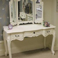 Large Cream dressing table & mirror - Melody Maison