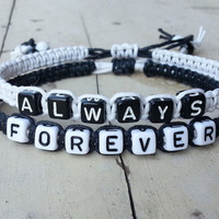 Always forever Bracelets for Couples ,Set of 2 , Personalized Jewelry , Anniversary Gifts, Bridesmaid Bracelet