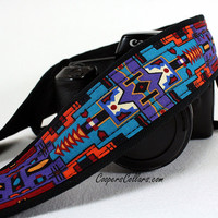 Camera Strap, Indian, Tribal, Purple, Turquoise, Native American, Southwestern, dSLR, SLR