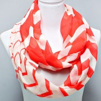 "Coral Red White Chevron Style Print Infinity Tube Scarf Beautiful Chic 24"" x 70"""