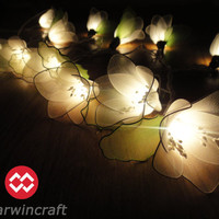 35 White Rain Lilly Flower Fairy String Lights Hanging Wedding Gift Party Patio Wall Floor Garden Bedroom Home Accent Floral Decor 3m