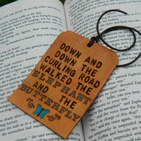 Leather Luggage Tag - Elephant and Butterfly Quote - Blue Butterfly Detail - E E Cummings Fairy Tales Quote