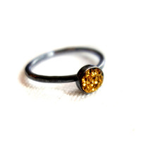 Petite Golden Drusy in Oxidized Sterling by RachelPfefferDesigns