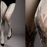 NEW light grey one size Birds and Ladies full length closed toe printed tights pantyhose